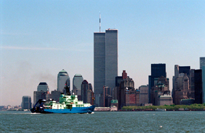 R/V Atlantis on its outreach tour in 1997, with World Trade Center in background