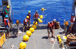 chain of hardhats being deployed in Northwest Atlantic