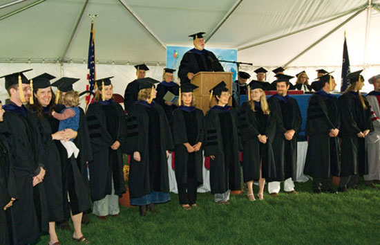 John Farrington presides over his last commencement as vice president for Academic Programs at WHOI in September.