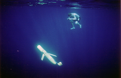 David Sutherland in the water with a thermal glider during a test