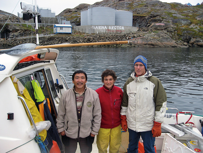 Greenlander Arqaluk J?rgensen and WHOI researchers Fiamma Straneo and Dave Sutherland.