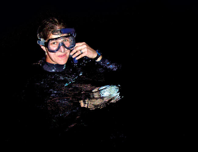 Photo of Kelly Rakow Sutherland at the end of a research dive