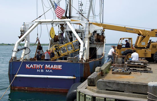 HabCam (short for ?habitat mapping camera system?) is hoisted aboard the scallop boat Kathy Marie for a test run.