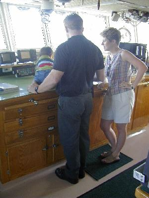 Chief Engineer Moose Morris and Family on the Oceanus Bridge