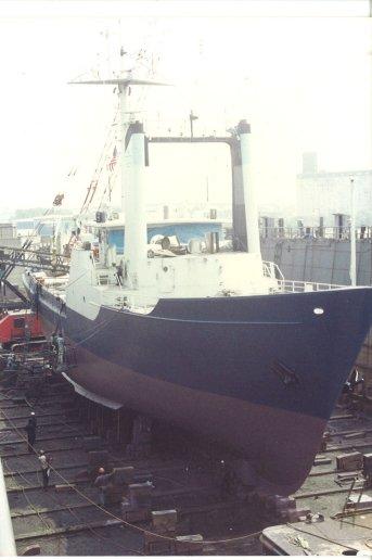 Oceanus in Drydock in New York Before Her Mid-life Refit