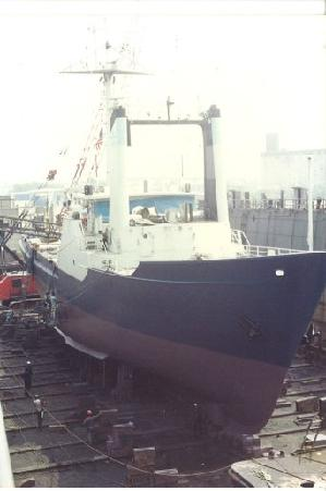 Oceanus in Drydock in New York Before Her Mid-life Refit