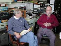 Volunteer Frank Taylor interviews Geoff Whitney for his oral history.