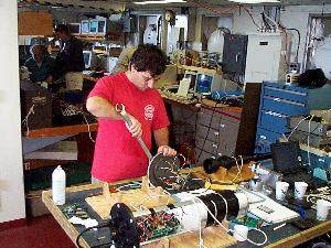 Paul Fucile making adjustments on his bio-optical package on OC344 July 1999.