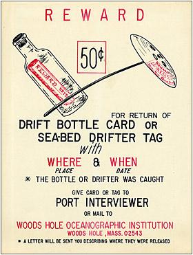 poster that encouraged return of drift bottles