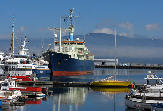 The Knorr at dock in Reykjavik harbor just before starting cruise KN189-04.