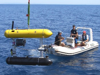The SeaBED AUV returns from an archaeological dive in the Aegean Sea