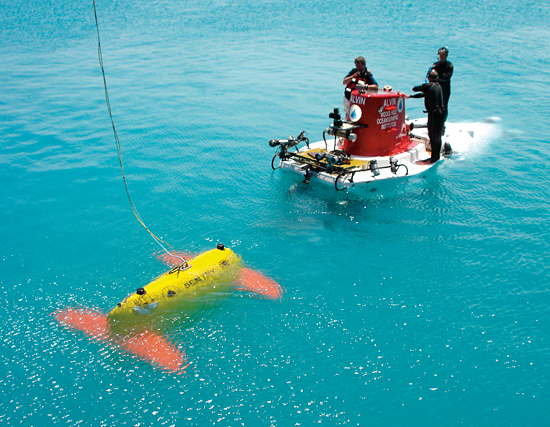 new Sentry autonomous underwater vehicle meets the submersible Alvin