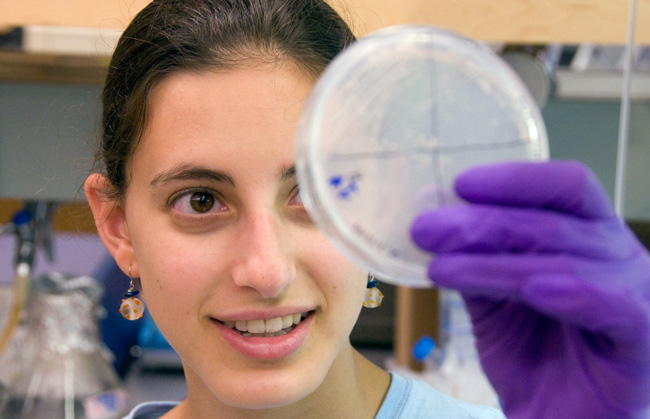 Rose Kantor collected samples of microbes from a fjord off Vancouver Island to study how bacteria communicate via chemical signaling called quorum sensing.
