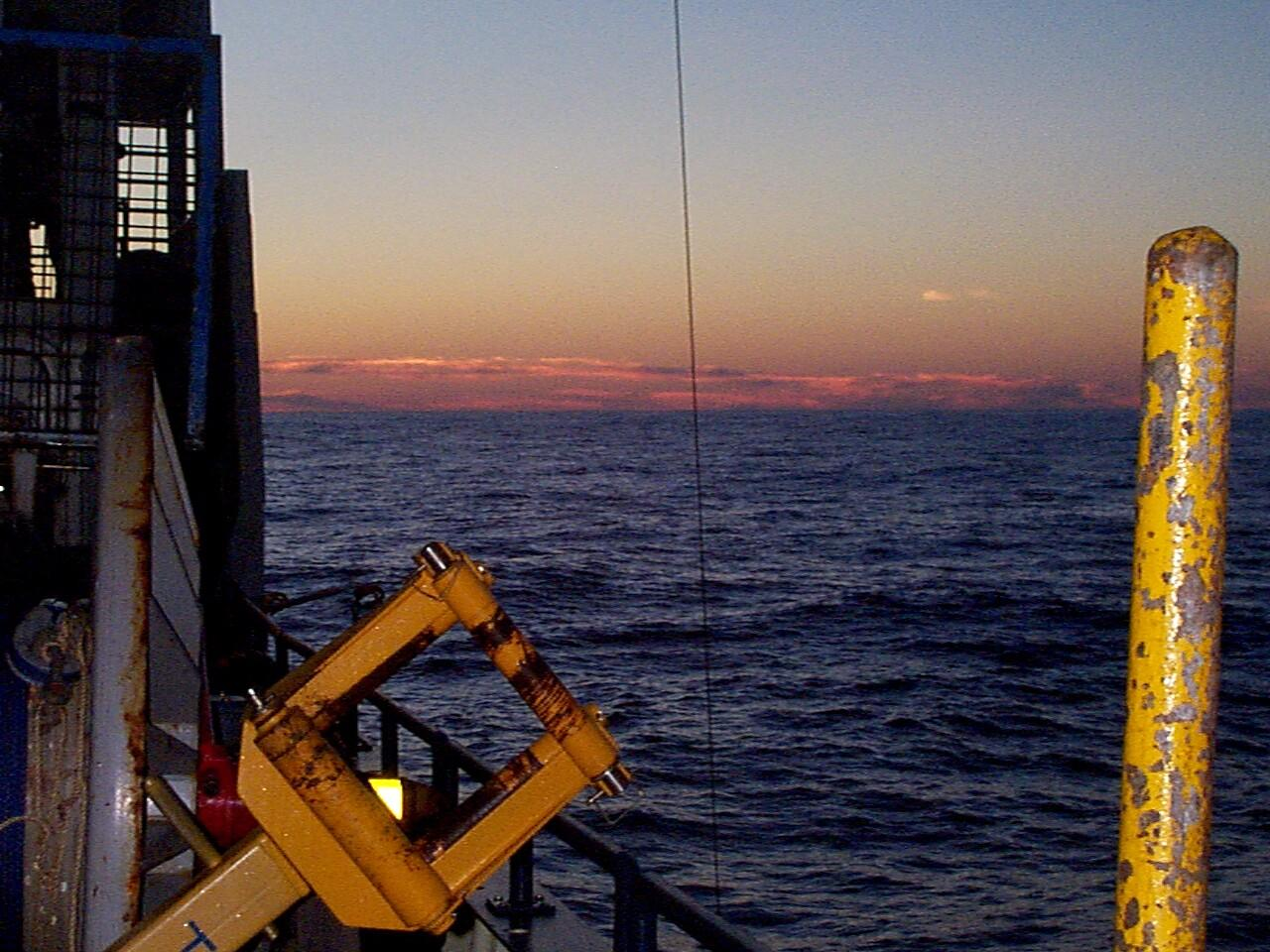 Ending a successful program with a sunset during a CTD profile from the aft deck on OC346 August 1999.