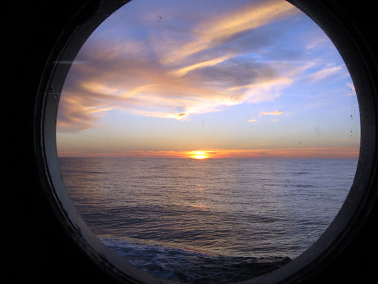Sunset through a port hole.