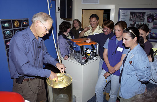 Larry Madin displays a ctenophore