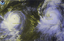 The Pacific is experiencing unprecedented number and intensity of typhoons. (NOAA)