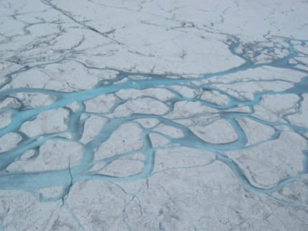 aerial view of melt streams