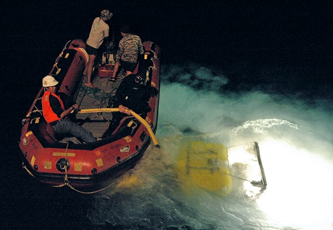 Nighttime ROV retrieval