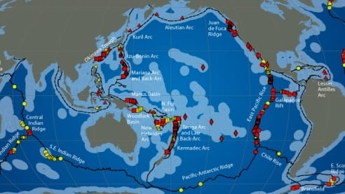 Hydrothermal vents distribution
