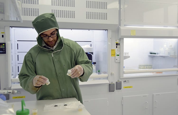 Adam Sarafian in NIRVANA clean lab