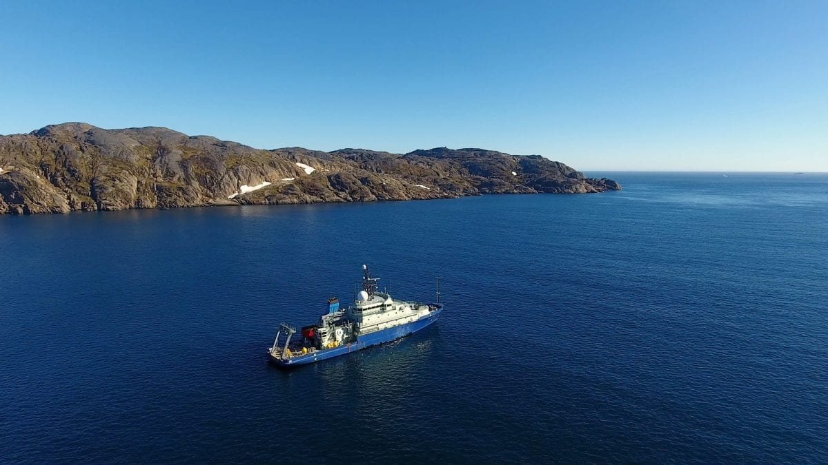 The R/V Neil Armstrong emerging from Prince Christian Sound