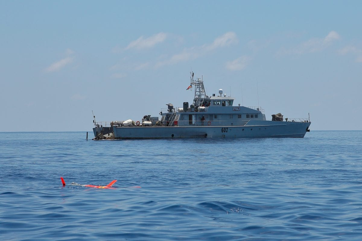 A Spray underwater glider on the surface just after deployment from Seychelles Coast Guard Patrol Ship Etoile in the western equatorial Indian Ocean.