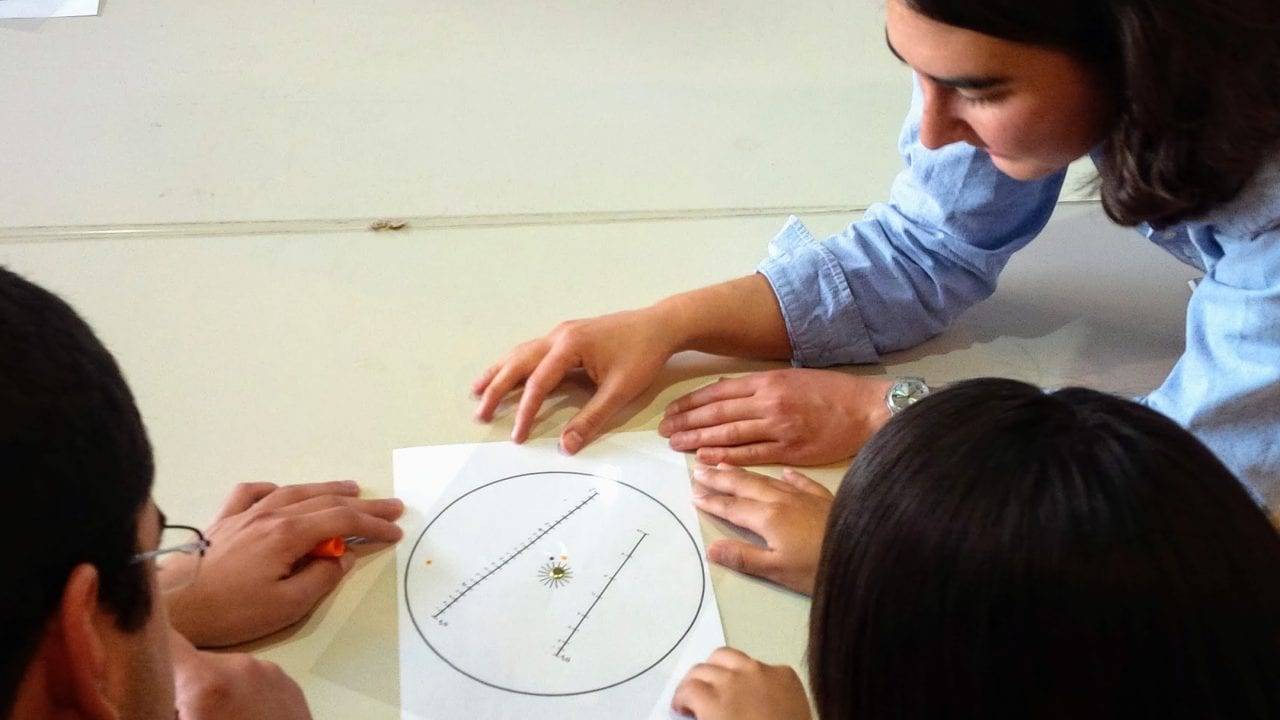 Isabela Le Bras teaches high school students in Ensenada, Mexico about the Coriolis effect.