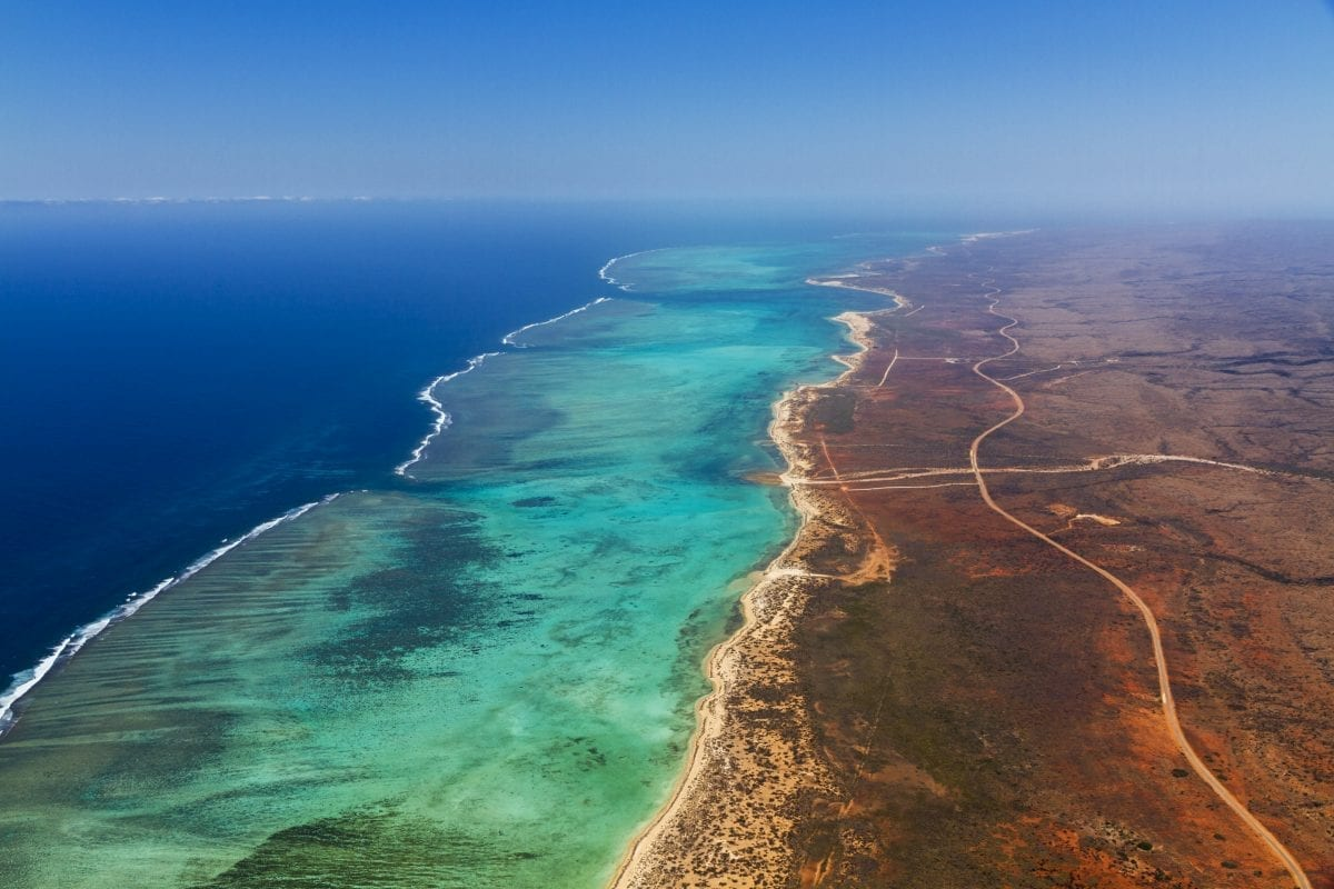 An aerial view of Cape Range National Park and Ningaloo Reef off Western Australia.
