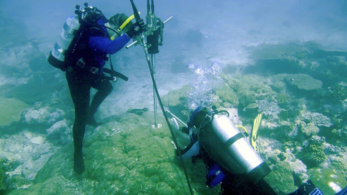 Drilling a coral core