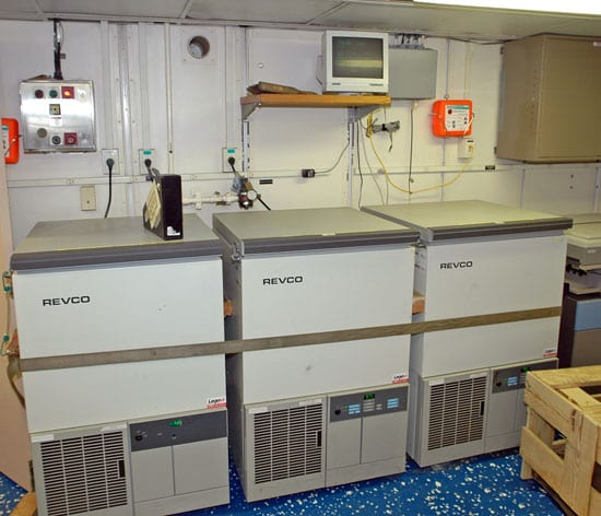 -70? freezers in the Main Lab. (Photo by John Dyke, Woods Hole Oceanographic Institution)