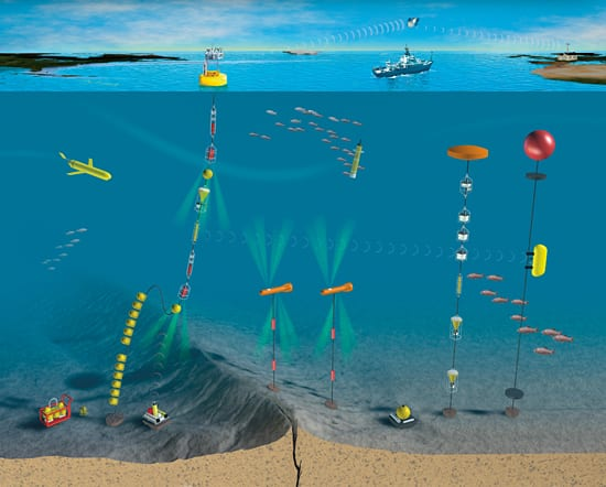 Researchers are planning instrument arrays that combine surface and sub-surface buoys, moorings, gliders, drifters, and shipboard measurements to monitor many complementary ocean processes.