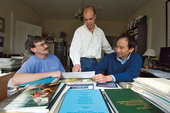 From left, Research Specialist Porter Hoagland, Andy Solow, and Associate Scientist Di Jin. (Photo by Tom Kleindinst, Woods Hole Oceanographic Institution)