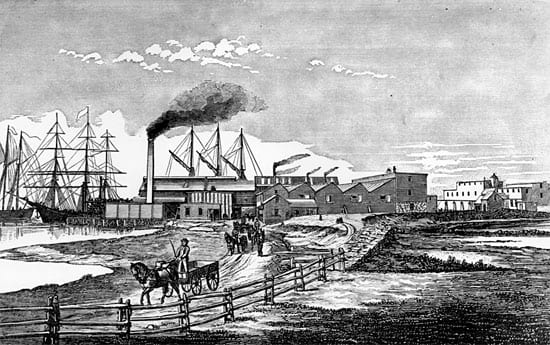 The Pacific Guano Company manufactured fertilizer on Penzance Point in the late nineteenth century. (Woods Hole Oceanographic Institution)