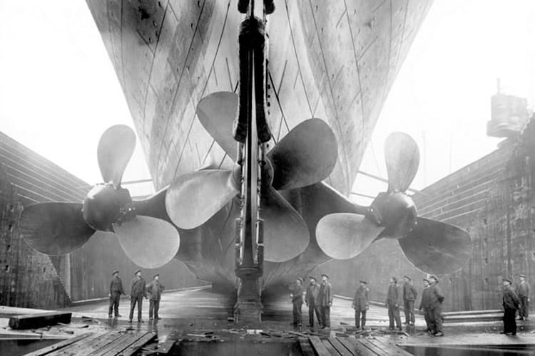 Titanic had three huge propellers