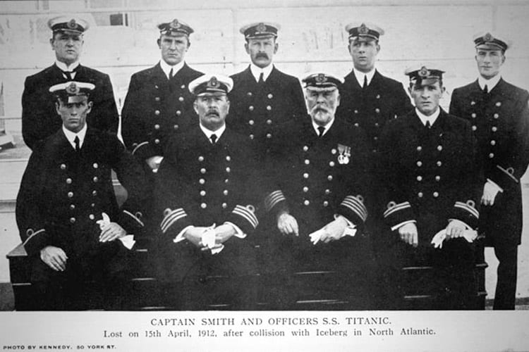 Captain Edward Smith (seated third from left), officers and crew of the Titanic