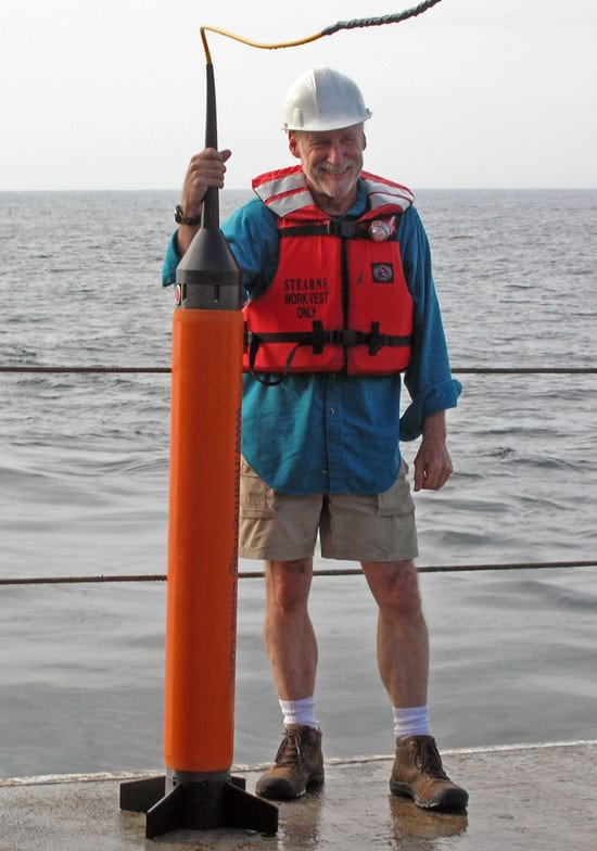 Mark Holmes, a research professor in oceanography at the University of Washington, accompanies a marine magnetometer on an expedition.