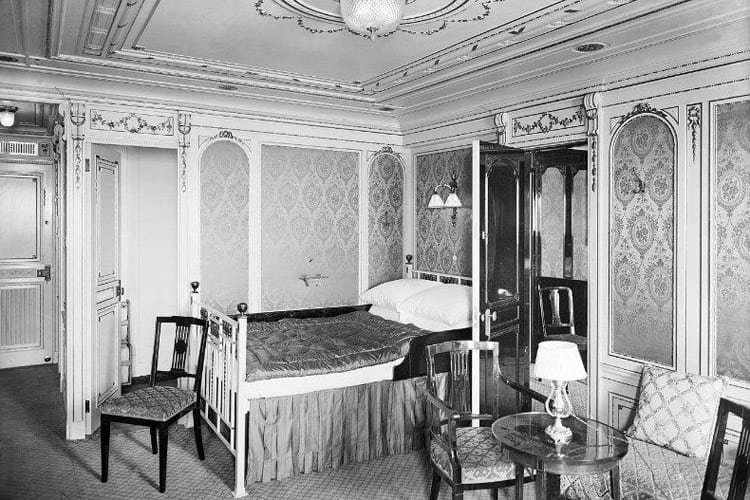 A first-class bedroom aboard the Titanic