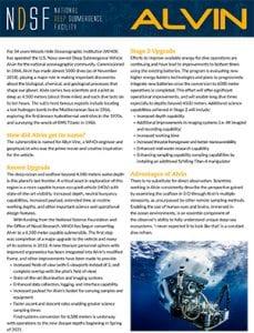 Alvin Fact Sheet
