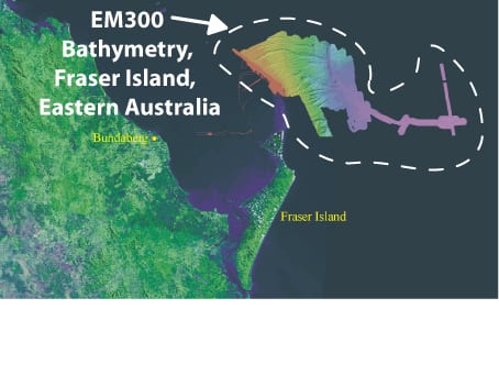 Figure 2. EM300 bathymetric data for the continental shelf of eastern Australia, just northeast of Fraser Island, Queensland, surveyed in January 2005 on the R/V Southern Surveyor.