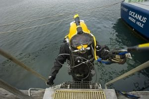 WHOI Diver Julian Schanze on a Kirby Morgan Superlite-37, 2011.