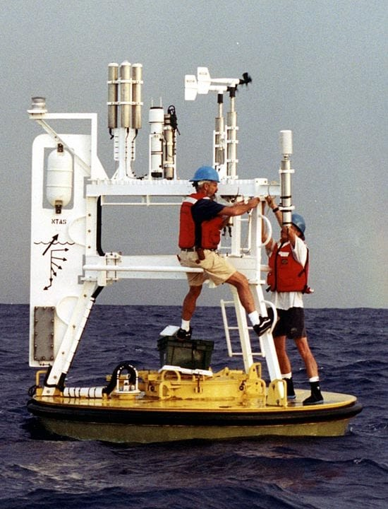 "The NTAS buoy moored in 2001 in the tropical Atlantic east of Venezuela. The long titanium sensor housings contained an independent battery supply for each sensor. Current ASIMET systems keep all batteries in the buoy well, allowing for shorter sensor housings.The wind vane at left keeps the instruments mounted on the ""front"" of the buoy pointed into the wind. The black rectangle on the vane is a satellite transmitter. The white oval is a radar reflector to warn away ships. (photo courtesy Robert Weller, WHOI)"