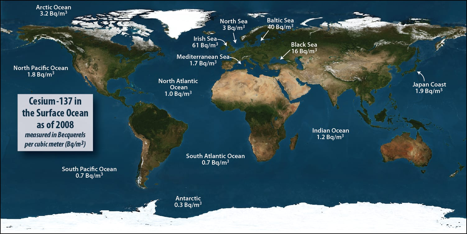 The background level of radiation in oceans and seas around the globe.