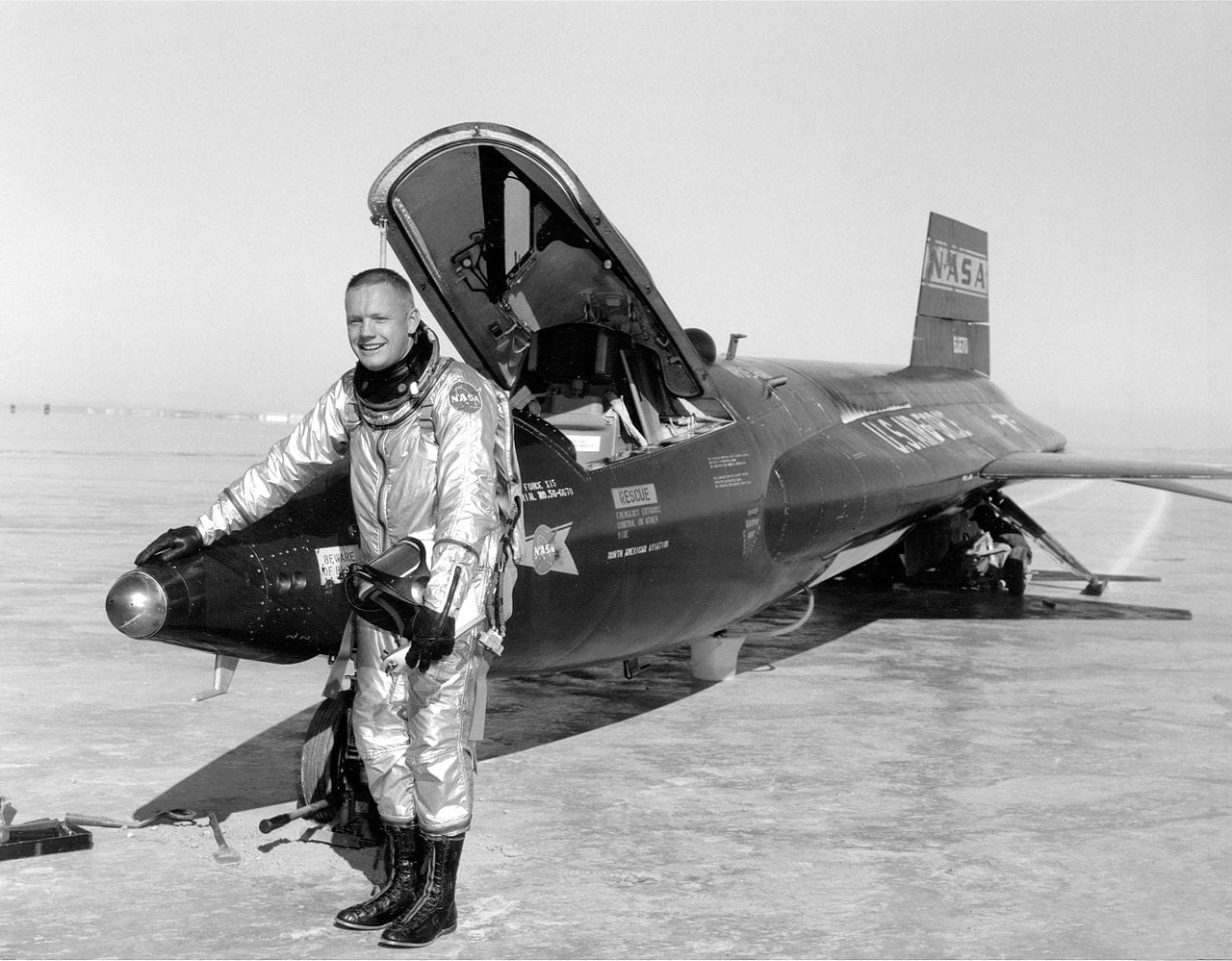 Dryden pilot Neil Armstrong is seen here next to the X-15 ship #1 (56-6670) after a research flight. (NASA)