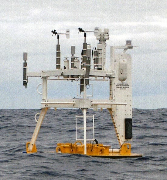 A buoy ready for recovery at the STRATUS site off Chile in the Pacific Ocean. The aluminum buoy is riding low in the water after a year at sea - one good reason why Surlyn foam buoys, which don't leak, are now routinely used.The skies are nearly always overcast in this region, making it difficult to study the ocean surface with satellites. ASIMET buoys provide continuous data that would be nearly impossible to acquire otherwise. (Photo courtesy Robert Weller, WHOI)