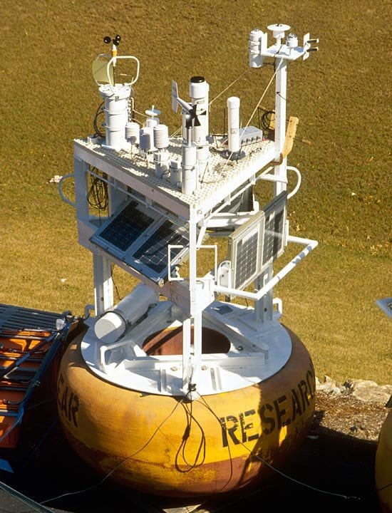 Over the years, tower tops were enlarged to make room for instruments. But the fiberglass grillwork was eventually abandoned because it disturbed airflow over the sensors. (Photo courtesy Robert Weller, WHOI)