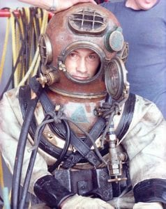 Former WHOI Dive Safety Officer Terry Rioux on a Mark V Helmet, 1978.