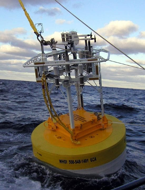 The CLIMODE buoy ready to start work in the Gulf Stream in late 2005. At deployment, this was the state of the art ASIMET buoy: Surlyn foam hull, rectangular tower, enlarged tower top with open interior, short, battery-less titanium sensor housings.Even this modern buoy has indications of future improvements. The egg-beater-shaped sensor just right of the yellow line is a sonic anemometer. More accurate than the propeller-shaped anemometers, this sensor may be standard on ASIMET systems by 2008. (photo courtesy Robert Weller, WHOI)