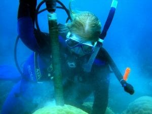 WHOI Grad Student Hannah Barkley drills into a coral colony.