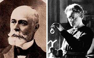 Antoine Becquerel (left) and Marie Curie